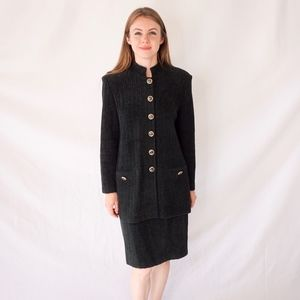St John Collection Marie Gray Knit Suit Green